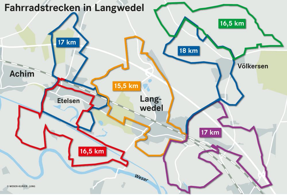 """Die neuen Radwege in Langwedel (Grafik: Weserkurier"""")"""